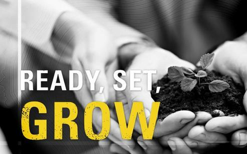 Hands holding seedling, Ready, Set, GROW! logo