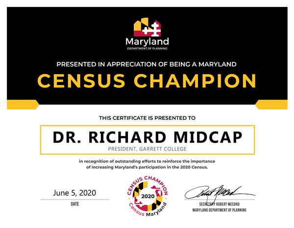 Dr. Richard Midcap Maryland Census Champion