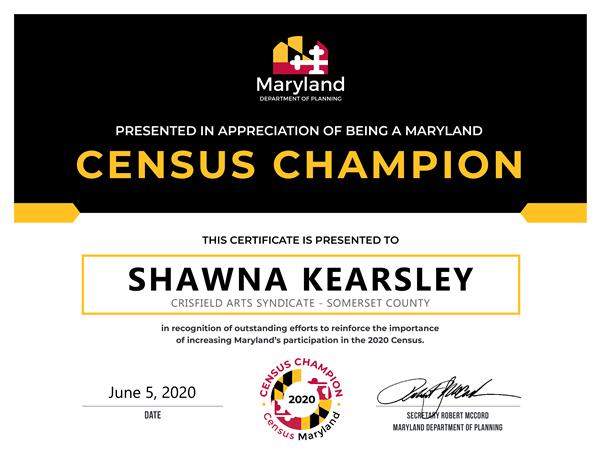Shawna Kearsley Census Champion