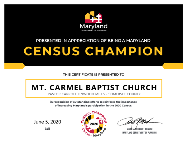 Mt. Caramel Baptist Church Census Champion