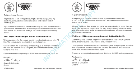 Postcards Encouraging Households to Respond to 2020 Census Sent to P.O. Boxes