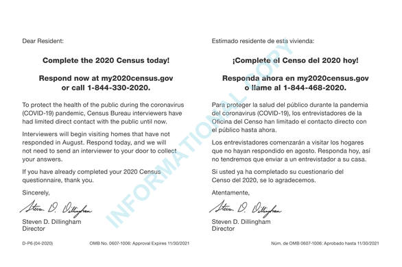 Census Bureau Plans to Send Additional 2020 Census Reminder Before Census Takers Visit