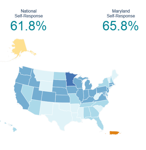 Maryland Census 2020 Self Response Rate, July 1, 2020