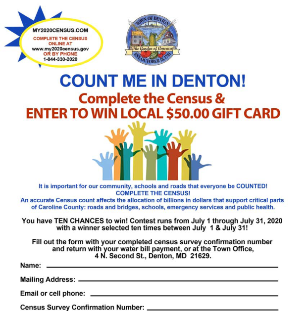 Town of Denton Census Contest flyer