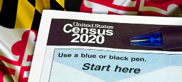 Maryland Census Form over Flag