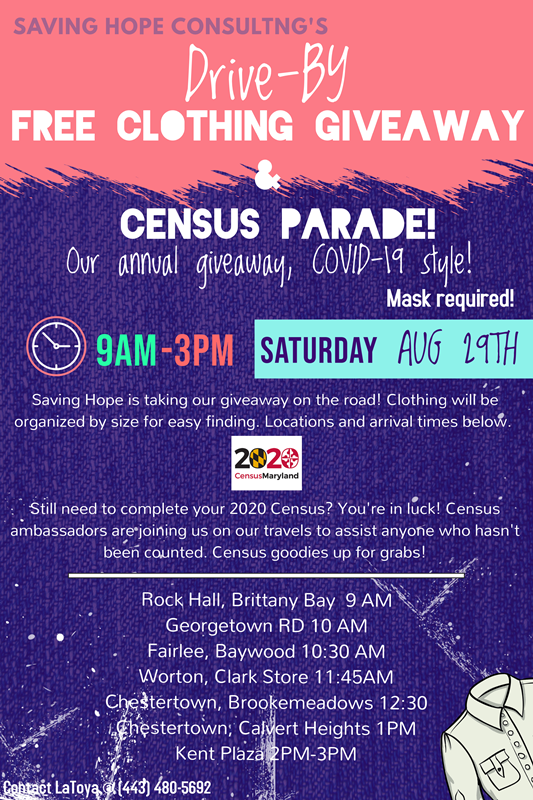 Kent County Free Clothing Giveaway and Census Parade