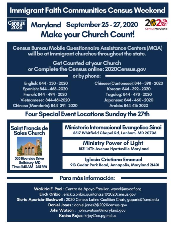 Immigrant Faith Communities Census Event Sept. 25-27