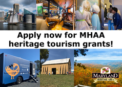 Photos of previous MHAA grants: work on historic boats, museum exhibits, historic buildings, digital humanities truck, festivals, and trails