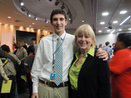 High school student Seth Ross and Nancy Floreen in the Council Hearing Room
