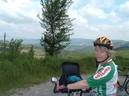 Nancy Floreen biking in the countryside