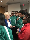 Nancy Floreen speaking with students at the youth town hall meeting
