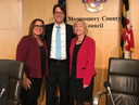 Council President Hans Riemer with Council Vice President Nancy Navarro with Nancy Floreen at Council dais landscape view