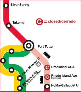 Metrorail Red Line Segment Shutdown July 21 - September 3, 2018