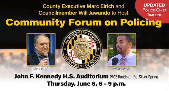County Executive Marc Elrich and Councilmember Will Jawando to Host Community Forum on Policing