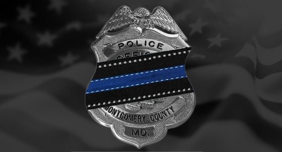 Montgomery County Police Badge in blue stripe