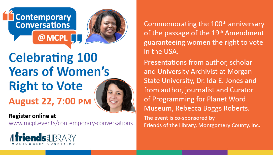MCPL 'Contemporary Conversations' Series Will Celebrate 100th Anniversary of Women's Right to Vote with Virtual Event on Saturday, Aug. 22