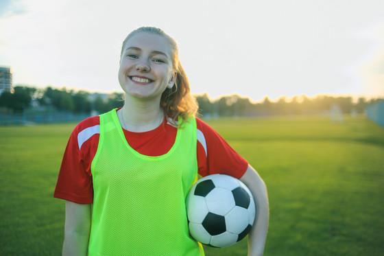 girl in soccer field