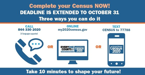 census deadline  is extended to Oct. 31