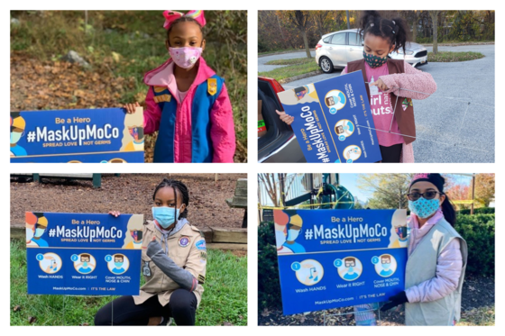 Local Scouts Help with MaskUpMoco Campaign