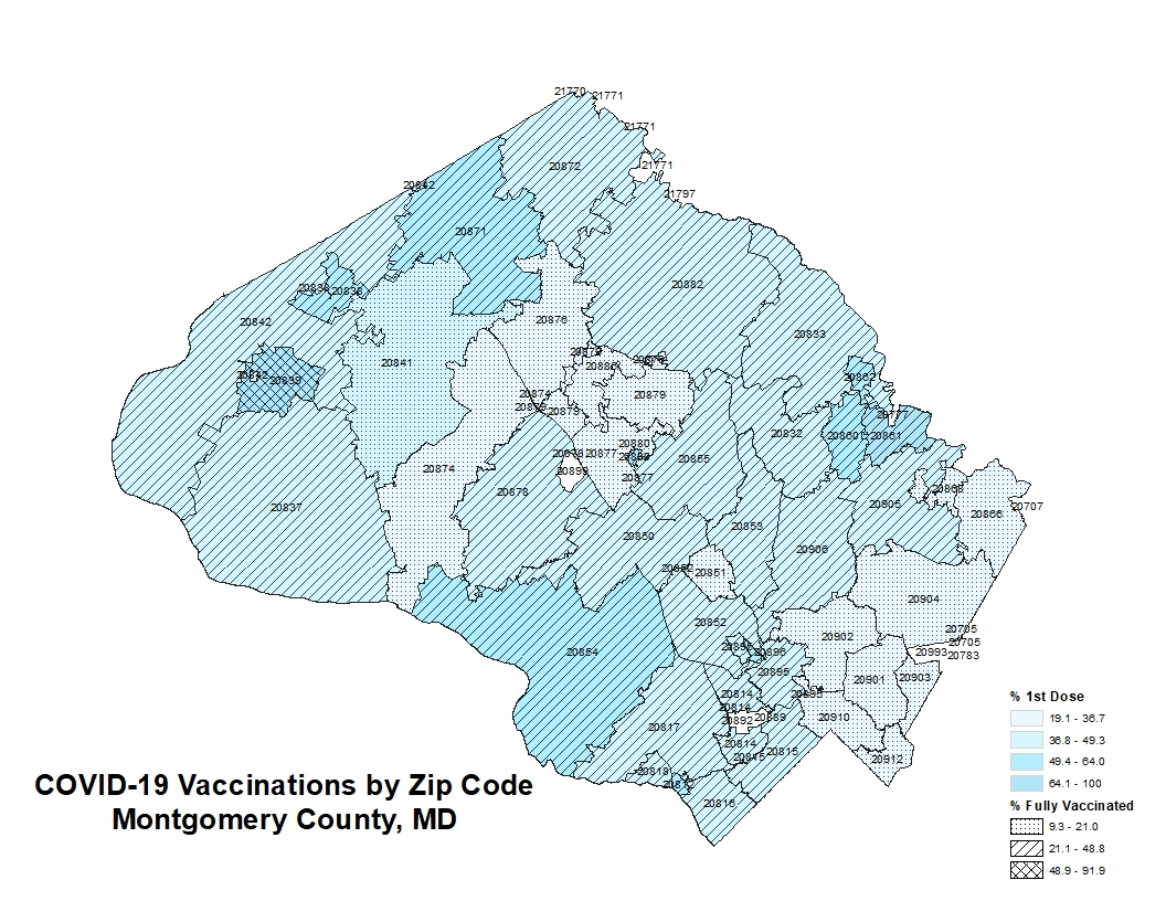 covid-19 vaccinations by zip code Montgomery County, MD