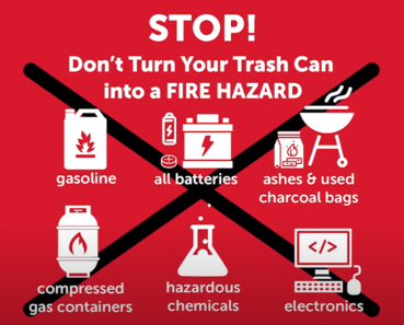 text of stop! don't turn your trash can into a fire hazard
