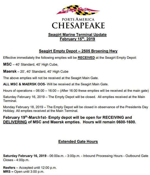 Seagirt Marine Terminal PAC Update February 15, 2019