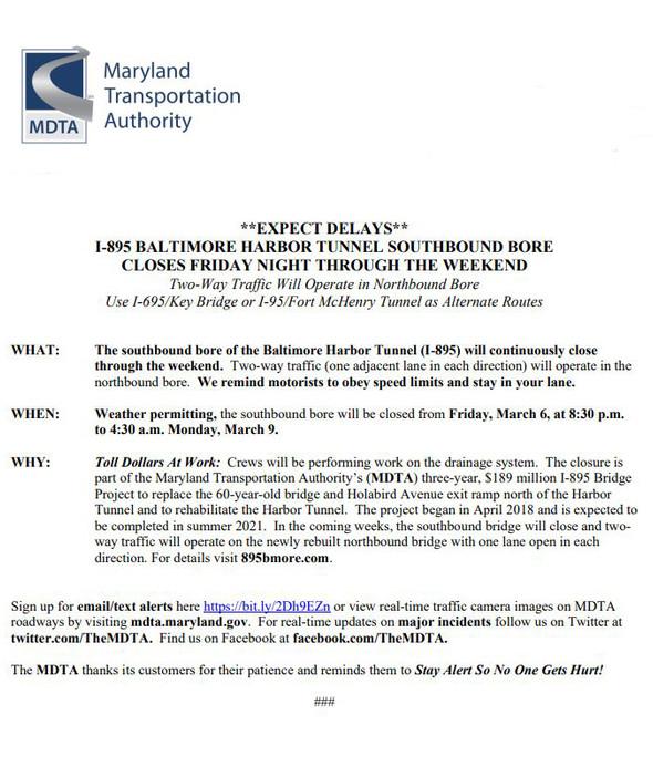 Baltimore Harbor Tunnel Delays