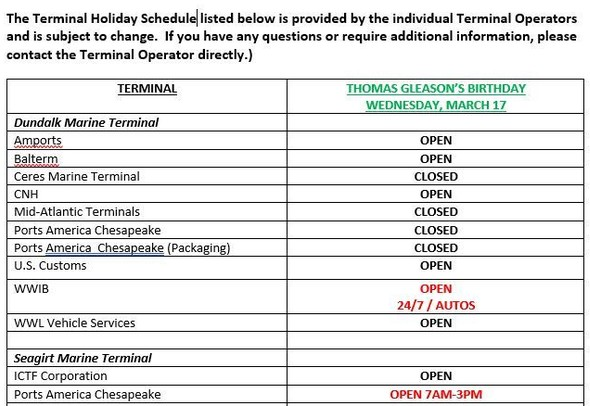 Thomas Gleason Birthday Holiday Schedule