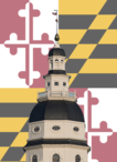 Maryland capital done with the Maryland flag design behind it.