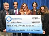 Image Allison Felton receiving prize for Milken Education Award
