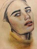 Image Ellie Kienast, Anne Arundel County Northeast High School, Painting of girl in yellow turtle neck