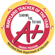 "Logo for Teacher of the Year Program Red ""A+"" Lettering"