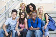 Stock image of culturally diverse high school students
