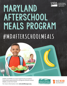 Maryland After School Meals flier with elementary school aged child and graphic of banana and lunch tray