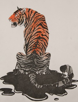 Image of student artwork-- tiger, orange, black, white