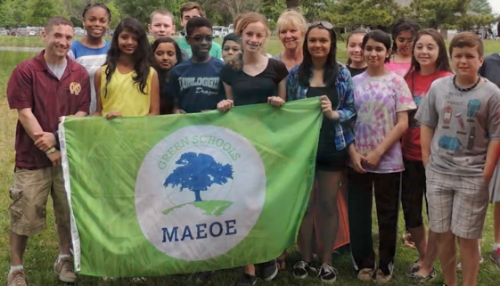 Howard County Public Schools students holding banner Maryland Green Schools certification