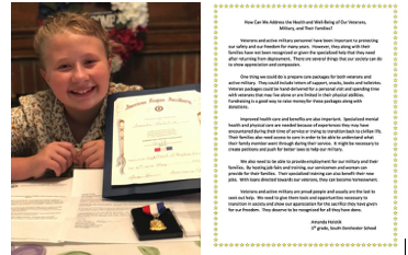 Amanda Holotik! The South Dorchester School 5th grader found out this week that her essay