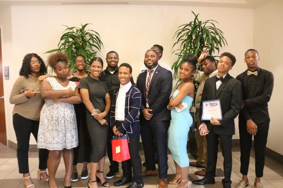 De'Rell Bonner with the inaugural cohort of P-TECH Baltimore interns. (photo provided by P-Tech)