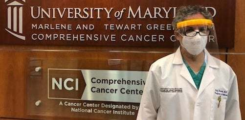 University of Maryland doctor wearing 3D Face Mask made by Howard County student