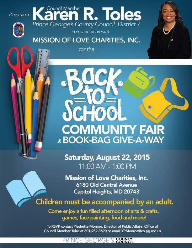 Back To School Community Fair Book Bag Giveaway