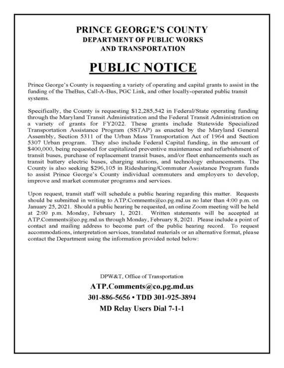 Notice of Opportunity for Public Hearing - Transportation FY 2022
