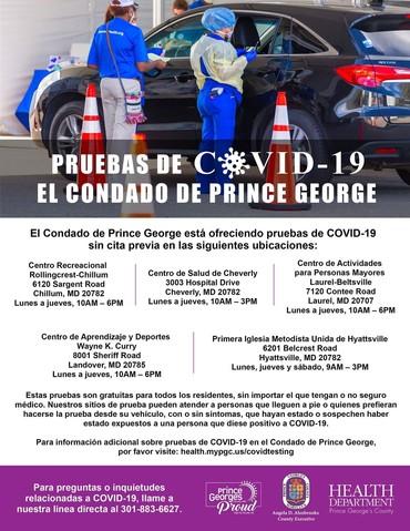 COVID testing sites spanish