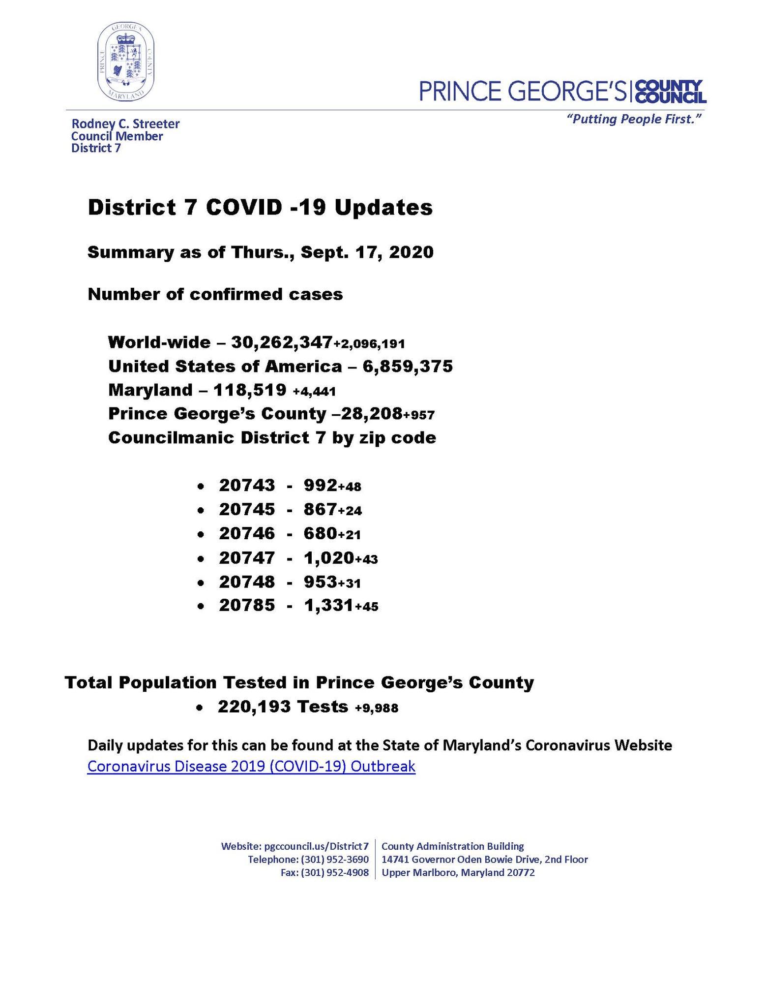 COVID 19 Updates 9.17