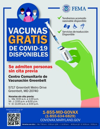 Walk up vaccine Spanish