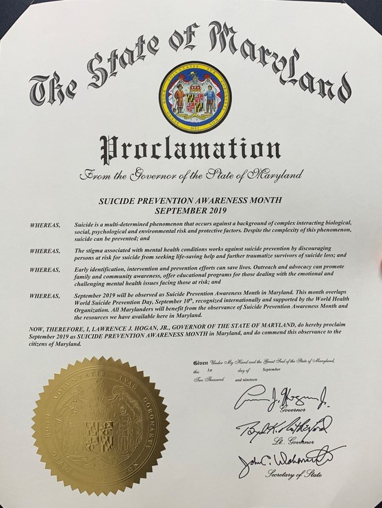 Suicide Prevention Month Proclamation