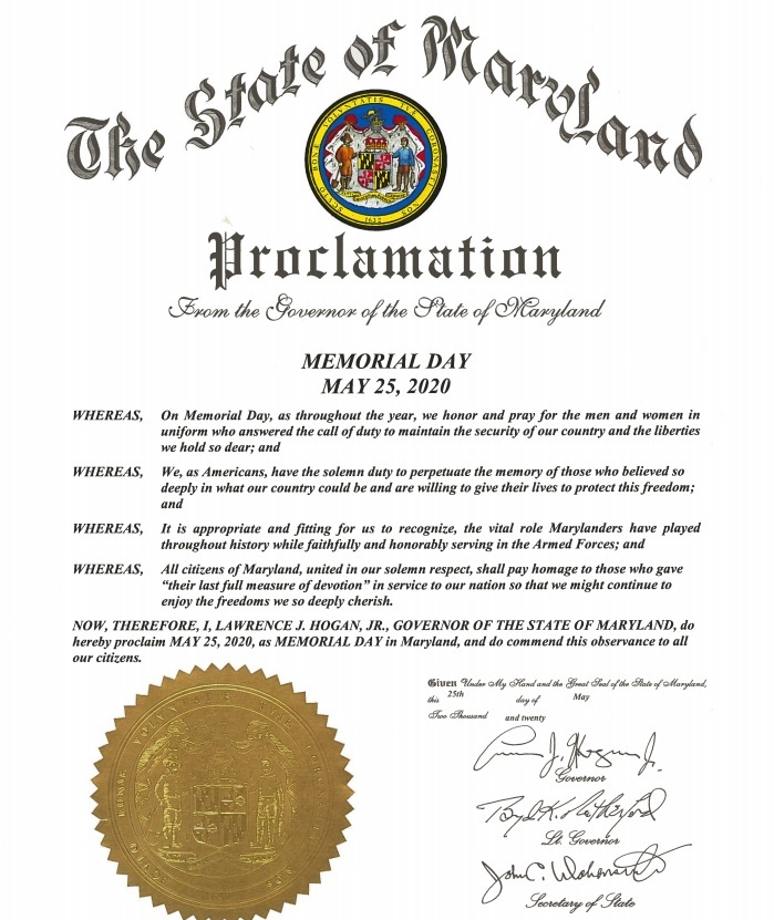 Governor's Memorial Day Proclamation