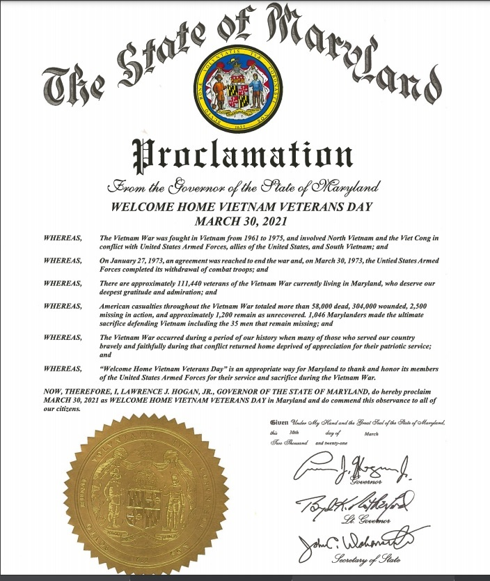 Governor's Proclamation - Vietnam Veteran's Day