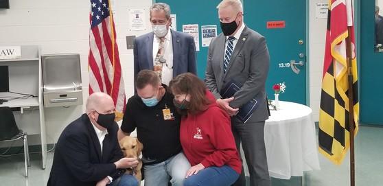 Sec. Owings photo at Vet Dog program