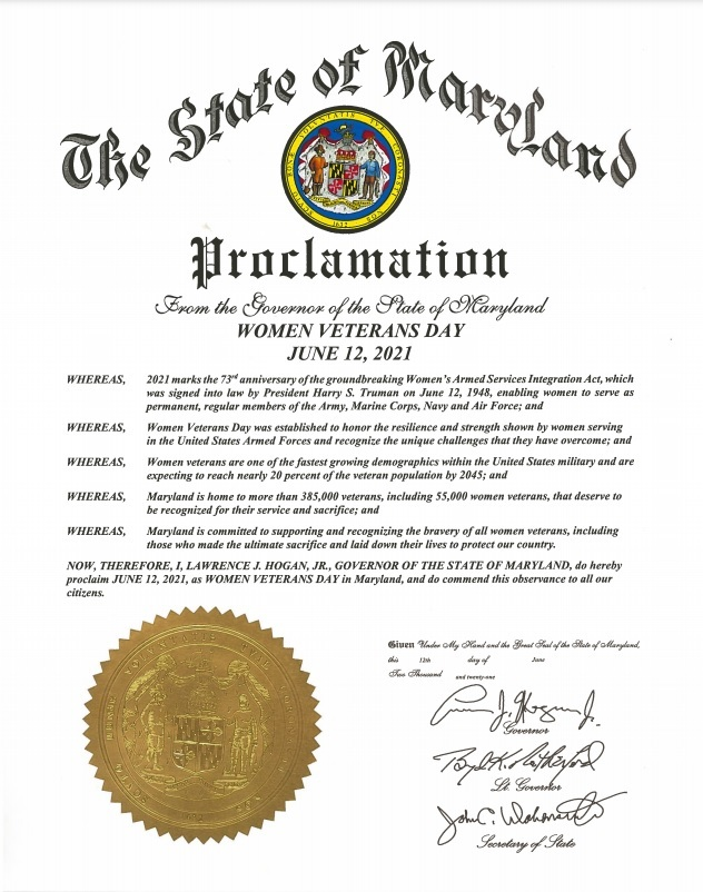 Governor's Proclamation - Women Veterans Day