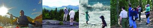 activities montage: paddling, beach goers, hikers and birders